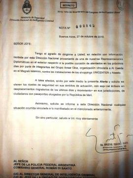 Alerta emitido por el Ministerio de Seguridad