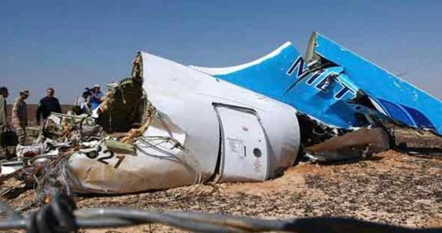 Parte del timón de cola del Airbus 321 de Metrojet