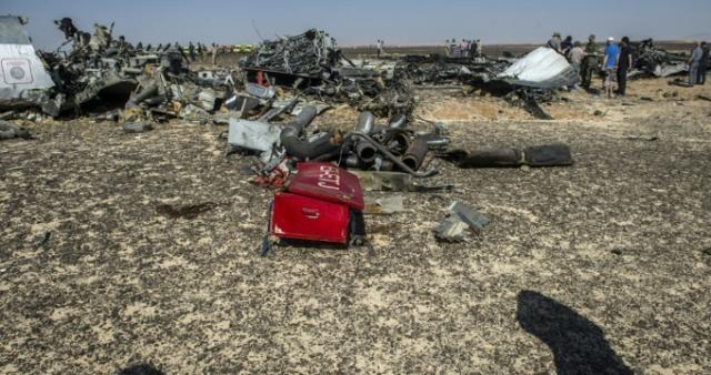 Restos de la aeronave que cayó en el Monte Sinaí