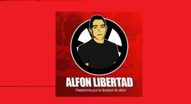 Eslogan de apoya al activista Alfon