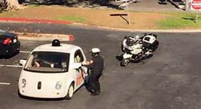 Google driverless car was stopped by police.