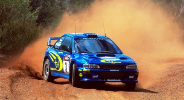 Um dos Subaru Impreza que Burns usou no WRC.
