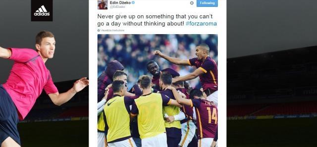 Il tweet di Edin Džeko, centravanti dell'AS Roma