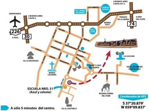 Plano 1 de Tandil, lugares para visitar y rutas
