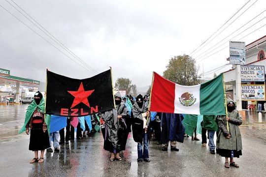 marcha zapatista en Tuxtla Gutiérrez