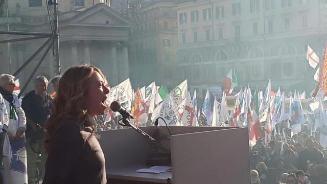 Giorgia Meloni alla manifestazione del 28 febbraio