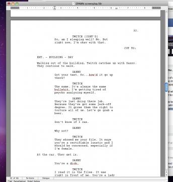L'extrait du script, avec Twitch et Danny.