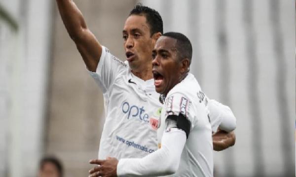 Santos comemora o gol que deu o empate ao peixe