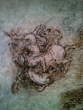 Detalhe de desenho de Leonardo Da Vinci