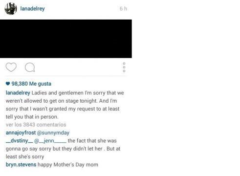 Screenshot del mensaje publicado por Lana Del Rey