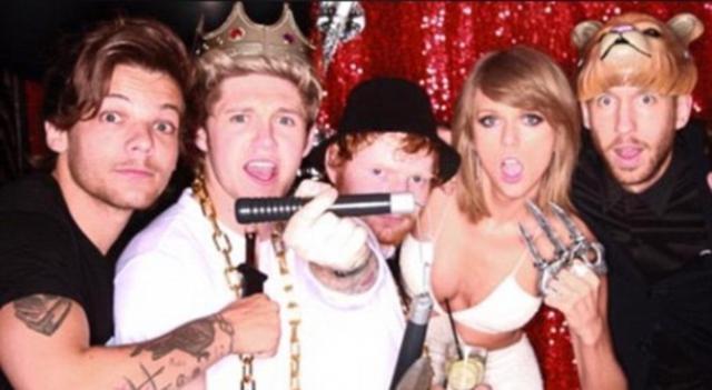 Louis e Niall com Ed Sheeran, Taylor e Calvin