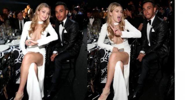 Lewis Hamilton com Gigi Hadid muito animada