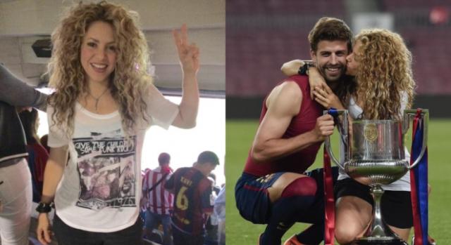 Shakira na bancada e no relvado, com Gerard Piqué