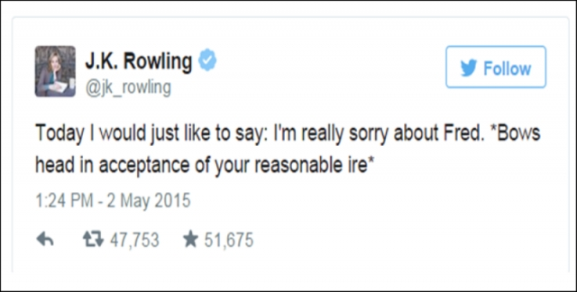 JK's reply tweet to all Potter fans.