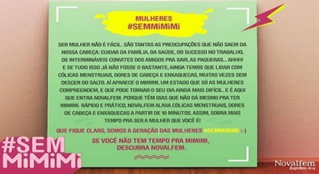 Post da campanha  # Sem mimimi, no Facebook