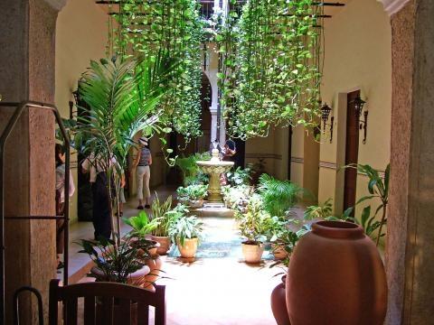 Patio interior de casa en La Habana, Cuba