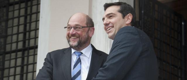 Tsipras e il presidente dell'Europarlamento Schulz