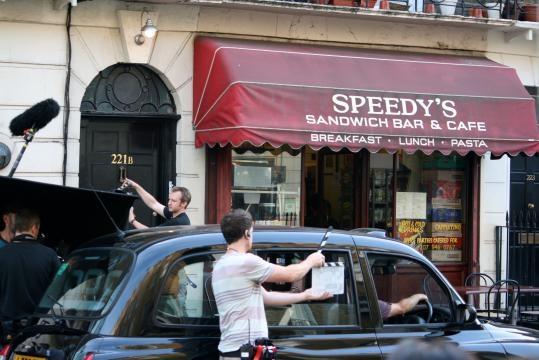 Sherlock's troupe in Baker Street