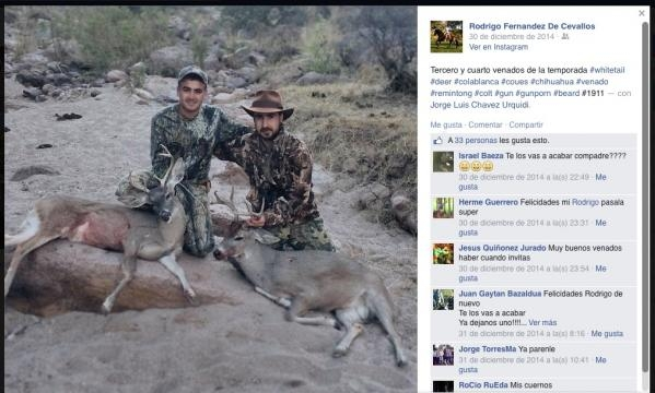 Fernández de Cevallos y amigo cazan venados.