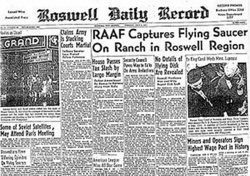 Roswell, come titolavano i giornali all'epoca.