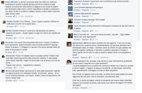 Utenti su Facebook commentano l'accaduto
