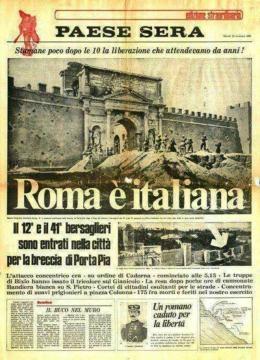 Un giornale dell'epoca, breccia di porta pia