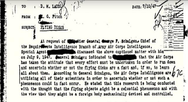 Parte del primo memorandum declassificato