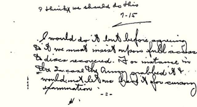 Parte scritta a mano del secondo memorandum