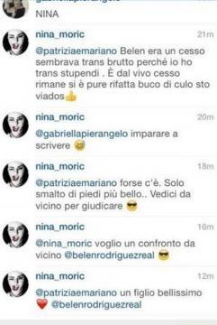 Gli insulti a Belen della Moric su Instagram.
