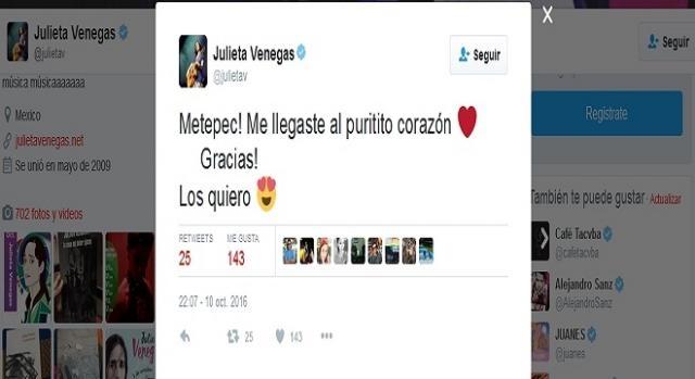 Julieta Venegas agradece las muestras de afecto y admiración de sus seguidores en Metepec