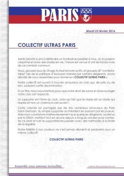 Communiqué du Collectif Ultras Paris