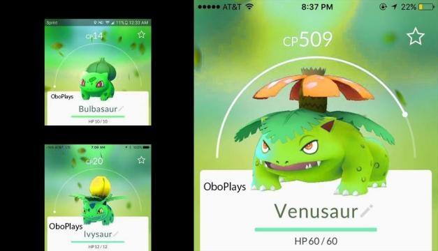 Las versiones de las evoluciones de Bulbasaur.