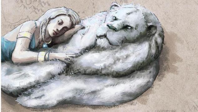 Hakkar [leão albino] de 'Game of Thrones'