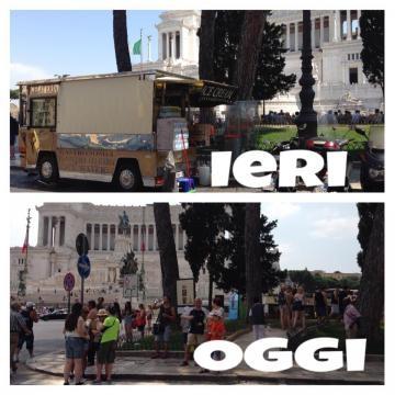 L'Altare della Patria prima e dopo il divieto dei camion bar
