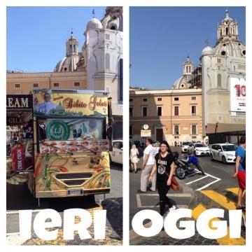 Piazza Venezia prima e dopo il divieto dei camion bar