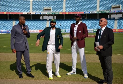 Misbah Ul Haz at the toss in Abu Dhabi (Twitter)