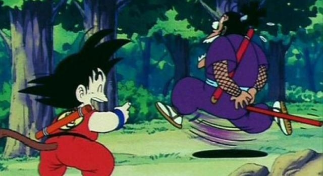 Goku contra ninja purpura. Gracioso