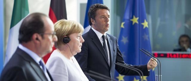 Francois Hollande. Angela Merkel e Matteo Renzi, punti saldi su cui poggiano NATO ed Unione Europea
