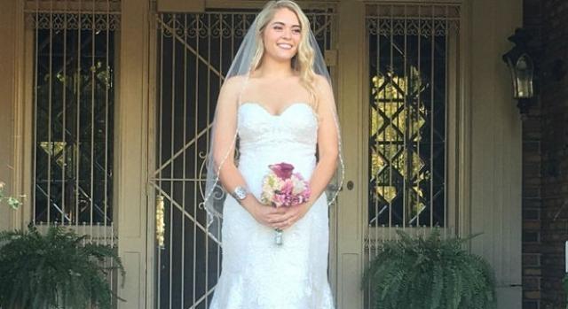 Haley Smith no casamento (Fotografia: Caters News Agency)
