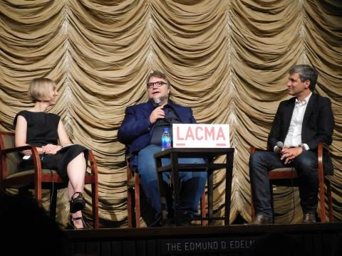 LACMA's Curator, Britt Salvesen (left), Guillermo Del Toro (center) and LACMA's Director, Michael Govan (right) (photo credit: Odette Perez)