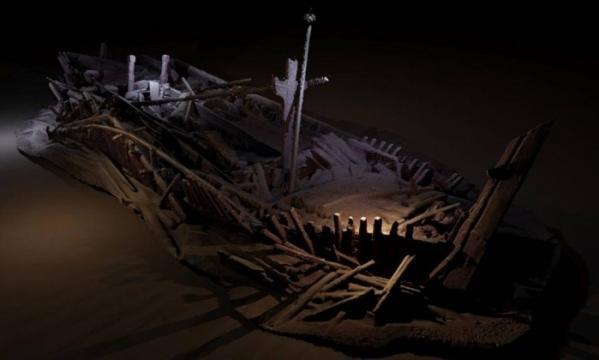 Navios seculares naufragados no Mar Morto.