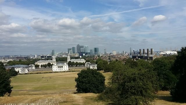 Greenwich Observatory park views overlooking Canary Wharf