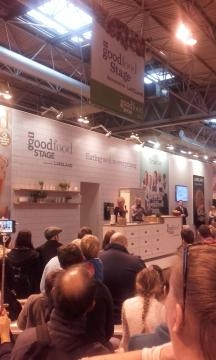 Mary Berry talking to the crowd at the BBC Food Show