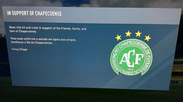 Mensaje de apoyo de FIFA 17 hacia el Chapecoense
