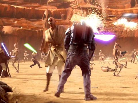 Mace Windu peleando con sable de luz