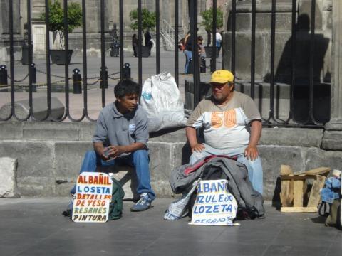 Desempleo en el Zócalo de la Ciudad de México, 2009.