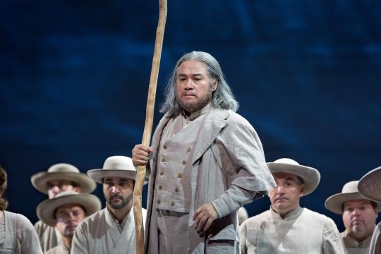 Korean baritone Kwangchul Youn as Melcthal, whose murder catalyzes Swiss revolt. Photo: Marty Sohl/Metropolitan Opera, used with permission.