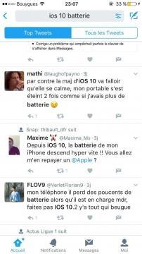 comme le montre si bien la capture d'écran ci-contre, il y a un réel problème avec iOS 10.