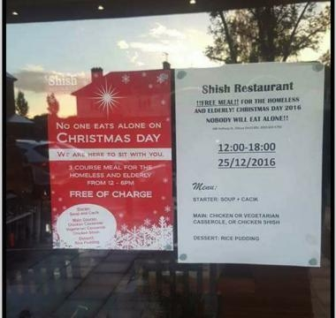 Shish Restaurant in London offered free meals on Christmas Day