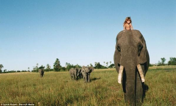 A pequena Tippi na selva com um elefante